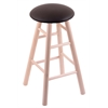 Holland Bar Stool Co. Maple Round Cushion Bar Stool with Smooth Legs, Natural Finish, Allante Espresso Seat, and 360 Swivel