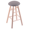 Maple Round Cushion Bar Stool with Smooth Legs, Natural Finish, Allante Medium Grey Seat, and 360 Swivel