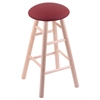 Maple Round Cushion Extra Tall Bar Stool with Smooth Legs, Natural Finish, Allante Wine Seat, and 360 Swivel