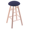 Maple Round Cushion Extra Tall Bar Stool with Smooth Legs, Natural Finish, Axis Denim Seat, and 360 Swivel