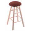 Maple Round Cushion Counter Stool with Smooth Legs, Natural Finish, Axis Paprika Seat, and 360 Swivel