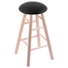 Maple Round Cushion Bar Stool with Smooth Legs, Natural Finish, Black Vinyl Seat, and 360 Swivel