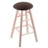 Holland Bar Stool Co. Maple Round Cushion Bar Stool with Smooth Legs, Natural Finish, Rein Coffee Seat, and 360 Swivel