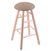 Maple Round Cushion Bar Stool with Smooth Legs, Natural Finish, Rein Thatch Seat, and 360 Swivel