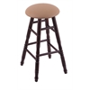 Maple Round Cushion Bar Stool with Turned Legs, Dark Cherry Finish, Allante Beechwood Seat, and 360 Swivel