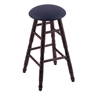 Maple Round Cushion Bar Stool with Turned Legs, Dark Cherry Finish, Allante Dark Blue Seat, and 360 Swivel