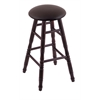 Holland Bar Stool Co. Maple Round Cushion Counter Stool with Turned Legs, Dark Cherry Finish, Allante Espresso Seat, and 360 Swivel