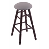 Holland Bar Stool Co. Maple Round Cushion Bar Stool with Turned Legs, Dark Cherry Finish, Allante Medium Grey Seat, and 360 Swivel