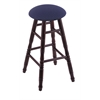 Maple Round Cushion Bar Stool with Turned Legs, Dark Cherry Finish, Axis Denim Seat, and 360 Swivel