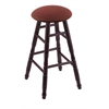 Maple Round Cushion Bar Stool with Turned Legs, Dark Cherry Finish, Axis Paprika Seat, and 360 Swivel