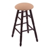 Maple Round Cushion Counter Stool with Turned Legs, Dark Cherry Finish, Axis Summer Seat, and 360 Swivel