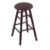 Maple Round Cushion Bar Stool with Turned Legs, Dark Cherry Finish, Axis Truffle Seat, and 360 Swivel