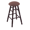 Maple Round Cushion Bar Stool with Turned Legs, Dark Cherry Finish, Axis Willow Seat, and 360 Swivel