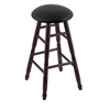 Maple Round Cushion Bar Stool with Turned Legs, Dark Cherry Finish, Black Vinyl Seat, and 360 Swivel