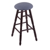 Holland Bar Stool Co. Maple Round Cushion Bar Stool with Turned Legs, Dark Cherry Finish, Rein Bay Seat, and 360 Swivel