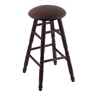 Holland Bar Stool Co. Maple Round Cushion Bar Stool with Turned Legs, Dark Cherry Finish, Rein Coffee Seat, and 360 Swivel