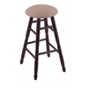 Maple Round Cushion Bar Stool with Turned Legs, Dark Cherry Finish, Rein Thatch Seat, and 360 Swivel