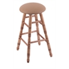 Holland Bar Stool Co. Maple Round Cushion Extra Tall Bar Stool with Turned Legs, Medium Finish, Allante Beechwood Seat, and 360 Swivel