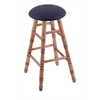 Maple Round Cushion Extra Tall Bar Stool with Turned Legs, Medium Finish, Allante Dark Blue Seat, and 360 Swivel