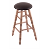 Holland Bar Stool Co. Maple Round Cushion Extra Tall Bar Stool with Turned Legs, Medium Finish, Allante Espresso Seat, and 360 Swivel
