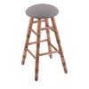 Holland Bar Stool Co. Maple Round Cushion Bar Stool with Turned Legs, Medium Finish, Allante Medium Grey Seat, and 360 Swivel