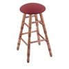 Holland Bar Stool Co. Maple Round Cushion Counter Stool with Turned Legs, Medium Finish, Allante Wine Seat, and 360 Swivel