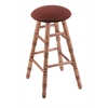 Maple Round Cushion Bar Stool with Turned Legs, Medium Finish, Axis Paprika Seat, and 360 Swivel