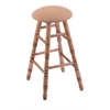 Holland Bar Stool Co. Maple Round Cushion Bar Stool with Turned Legs, Medium Finish, Axis Summer Seat, and 360 Swivel