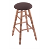 Maple Round Cushion Bar Stool with Turned Legs, Medium Finish, Axis Truffle Seat, and 360 Swivel