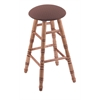 Maple Round Cushion Bar Stool with Turned Legs, Medium Finish, Axis Willow Seat, and 360 Swivel