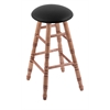 Maple Round Cushion Bar Stool with Turned Legs, Medium Finish, Black Vinyl Seat, and 360 Swivel