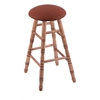 Holland Bar Stool Co. Maple Round Cushion Extra Tall Bar Stool with Turned Legs, Medium Finish, Rein Adobe Seat, and 360 Swivel