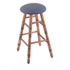 Holland Bar Stool Co. Maple Round Cushion Extra Tall Bar Stool with Turned Legs, Medium Finish, Rein Bay Seat, and 360 Swivel