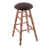 Holland Bar Stool Co. Maple Round Cushion Extra Tall Bar Stool with Turned Legs, Medium Finish, Rein Coffee Seat, and 360 Swivel