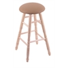 Holland Bar Stool Co. Maple Round Cushion Extra Tall Bar Stool with Turned Legs, Natural Finish, Allante Beechwood Seat, and 360 Swivel