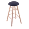Maple Round Cushion Bar Stool with Turned Legs, Natural Finish, Allante Dark Blue Seat, and 360 Swivel