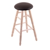 Holland Bar Stool Co. Maple Round Cushion Bar Stool with Turned Legs, Natural Finish, Allante Espresso Seat, and 360 Swivel