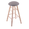 Holland Bar Stool Co. Maple Round Cushion Extra Tall Bar Stool with Turned Legs, Natural Finish, Allante Medium Grey Seat, and 360 Swivel