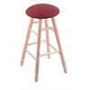Holland Bar Stool Co. Maple Round Cushion Bar Stool with Turned Legs, Natural Finish, Allante Wine Seat, and 360 Swivel