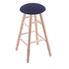 Maple Round Cushion Bar Stool with Turned Legs, Natural Finish, Axis Denim Seat, and 360 Swivel