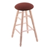 Maple Round Cushion Bar Stool with Turned Legs, Natural Finish, Axis Paprika Seat, and 360 Swivel