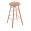 Maple Round Cushion Counter Stool with Turned Legs, Natural Finish, Axis Summer Seat, and 360 Swivel
