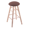 Maple Round Cushion Bar Stool with Turned Legs, Natural Finish, Axis Willow Seat, and 360 Swivel