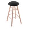 Maple Round Cushion Bar Stool with Turned Legs, Natural Finish, Black Vinyl Seat, and 360 Swivel