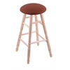 Holland Bar Stool Co. Maple Round Cushion Extra Tall Bar Stool with Turned Legs, Natural Finish, Rein Adobe Seat, and 360 Swivel