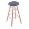 Maple Round Cushion Bar Stool with Turned Legs, Natural Finish, Rein Bay Seat, and 360 Swivel