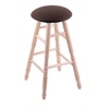 Holland Bar Stool Co. Maple Round Cushion Bar Stool with Turned Legs, Natural Finish, Rein Coffee Seat, and 360 Swivel