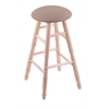 Maple Round Cushion Bar Stool with Turned Legs, Natural Finish, Rein Thatch Seat, and 360 Swivel