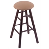 Holland Bar Stool Co. Oak Round Cushion Bar Stool with Smooth Legs, Dark Cherry Finish, Allante Beechwood Seat, and 360 Swivel