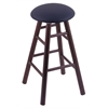 Oak Round Cushion Bar Stool with Smooth Legs, Dark Cherry Finish, Allante Dark Blue Seat, and 360 Swivel